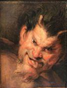 Peter Paul Rubens (1577 - 1640) Kopie, Kopf eines Satyrs, Öl/Lwd (aufgez), ca. 44.5 × 34.5 cm. Mit f