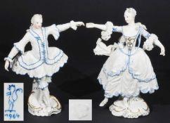 Figurengruppe Operntänzer und Tänzerin Camargo. NYMPHENBURG, 1964, Modellnummer 1212 und 1213,