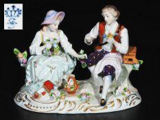 """Figurengruppe """"Junges Paar mit Blumenkorb und Vogelkäfig"""", SITZENDORFER Porzellanmanufaktur/Thüri"""