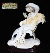 """ARMANI, Guiseppe (1935 - 2006). Figurengruppe """"Dame mit Rosen"""", Florence 1994. Auf ovalem mahagon"""