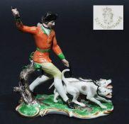"Figurengruppe ""Piqueur mit Hunden"". NYMPHENBURG, Modell Theodor Kärner, Erstausformung 1914, Mo"