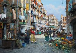 VASSETTI, Francesco. 1936 Neapel/Italien. Farbenfrohe Darstellung des Marklebens in Neapel. Öl auf
