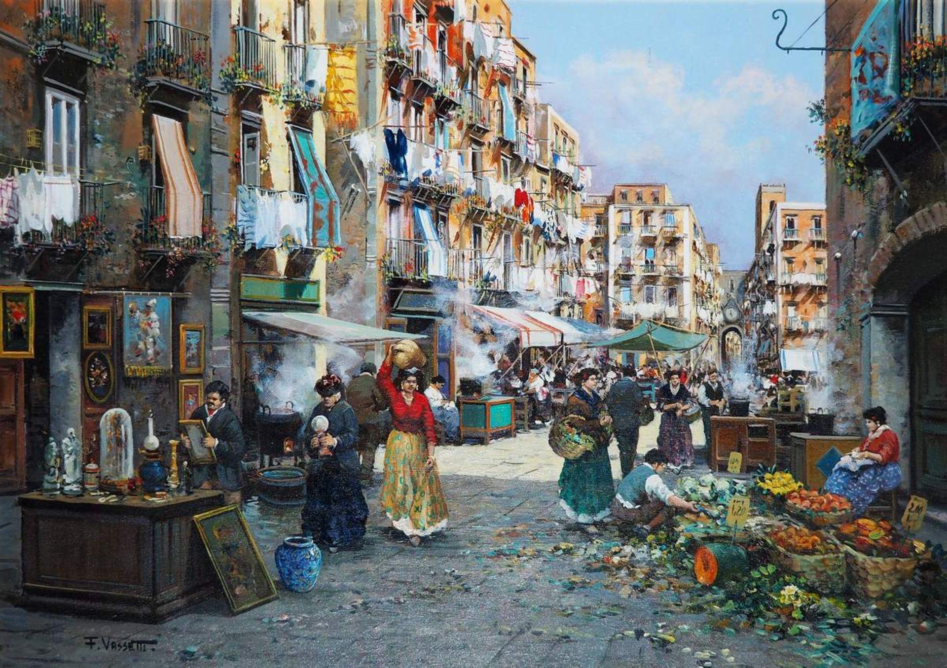 VASSETTI, Francesco. 1936 Neapel/Italien. Farbenfrohe Darstellung des Marklebens in Neapel. Öl auf - Bild 2 aus 7