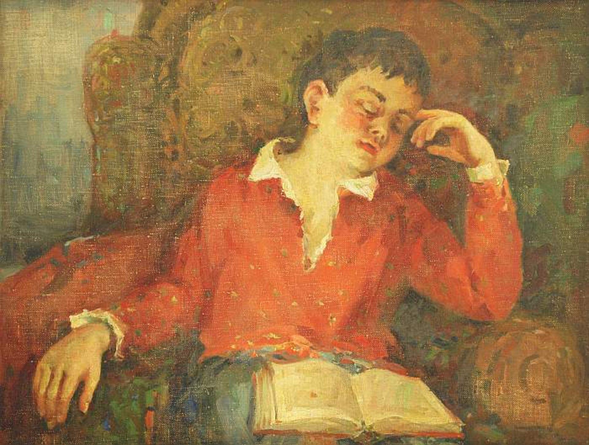 MORAVOV, Alexander Victorovich. 1878 Kiew - 1951 Moskau. Schlafender Junge im Sessel, ein aufgesch