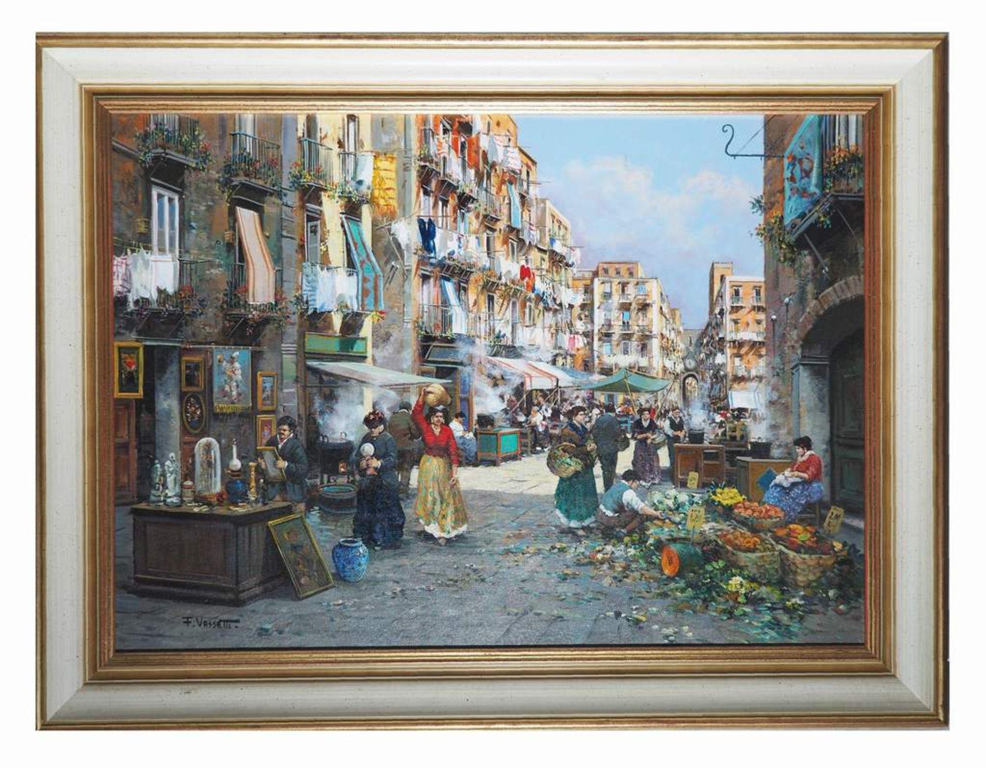 VASSETTI, Francesco. 1936 Neapel/Italien. Farbenfrohe Darstellung des Marklebens in Neapel. Öl auf - Bild 3 aus 7
