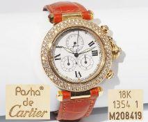 PASHA DE CARTIER Diamant Chronograph. Extrovertierte Damenarmbanduhr aus 18 Karat Gelbgold, Refere