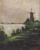 Angler in Flußlandschaft mit Windmühle.