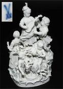 """Große seltene Figurengruppe """"Ländliches Fest"""". MEISSEN, 1850 - 1924, 1. Wahl"""