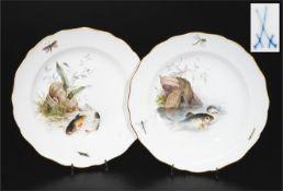 Paar Fischteller. MEISSEN um 1900, 1. Wahl.
