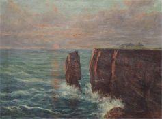 """Die roten Klippen von Helgoland, links die """"Lange Anna""""."""