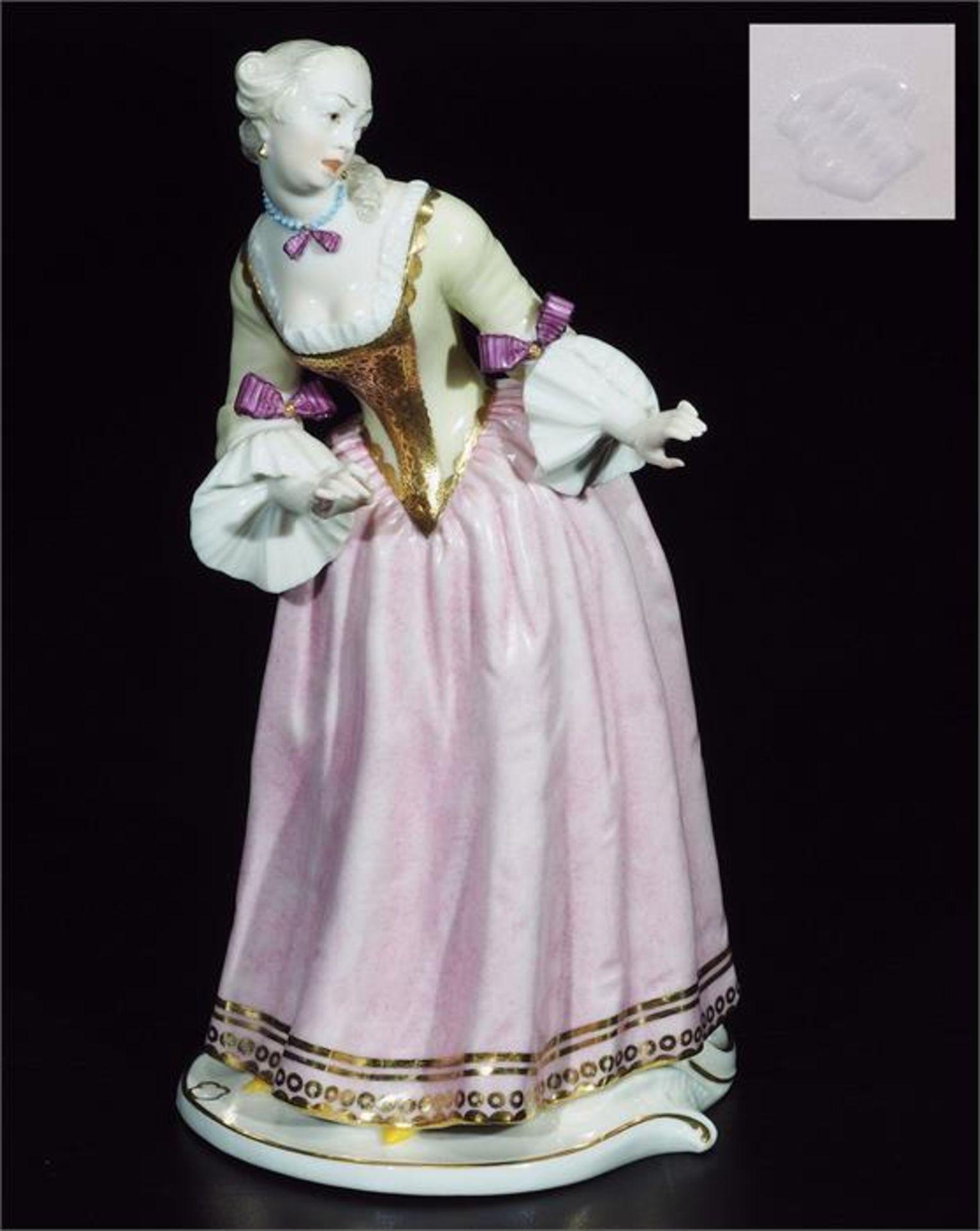 """Kommödiantenfigur """"Isabella"""", NYMPHENBURG, 20. Jahrhundert."""