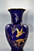 Vase kobaltblau Vohenstrauss Wildenten Johann Seltmann Bavaria 30 cm