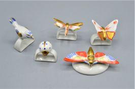 Konvolut Porzellan 5-teilig wahrscheinlich Metzler & Ortloff, kleine Figur Schmetterling Nr. 4455 m