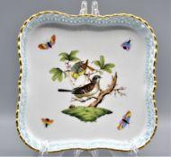 Herend Rotschild 7510/RO Porzellan Schale Durchbruch Singvogelpaar Schmetterlinge ca. 17,5 x 17,5cm