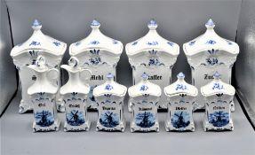 Konvolut Vorratsbehälter Vorratsdosen 10-teilig Delfter Stil Porzellan