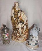 "2 Porzellanfiguren ROYAL DUX BOHEMIA: ""Antiker Vasenmaler"" H ca. 44cm""Eisvogel"" H ca."