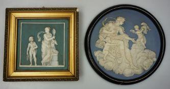 2 Porzellanbilder z.T. gemarkt METTLACHhellgrüner/-blauer Hintergrund mit reliefierte