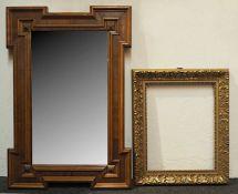 1 Spiegel wohl Ende 19. Jh., Holzrahmen min. besch. ca. 83x56cm 1 Wandspiegel nztl. Ra