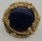 1 Damenring GG 14ct. blauer Edelstein (Lapislazuli?) ca. Ringgröße 53,5