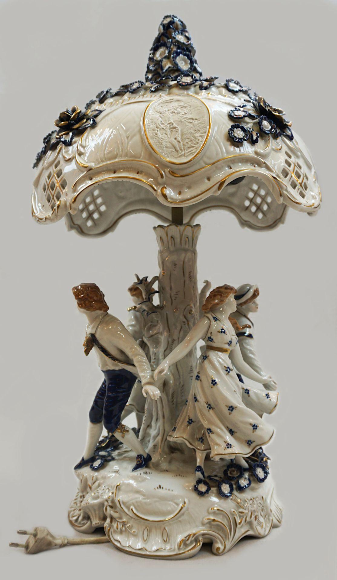 1 Tischlampe / Lithophanie-Leuchte Porzellan PLAUE, Gdr 2-flammig, elektrisch, Fuß in - Bild 2 aus 4