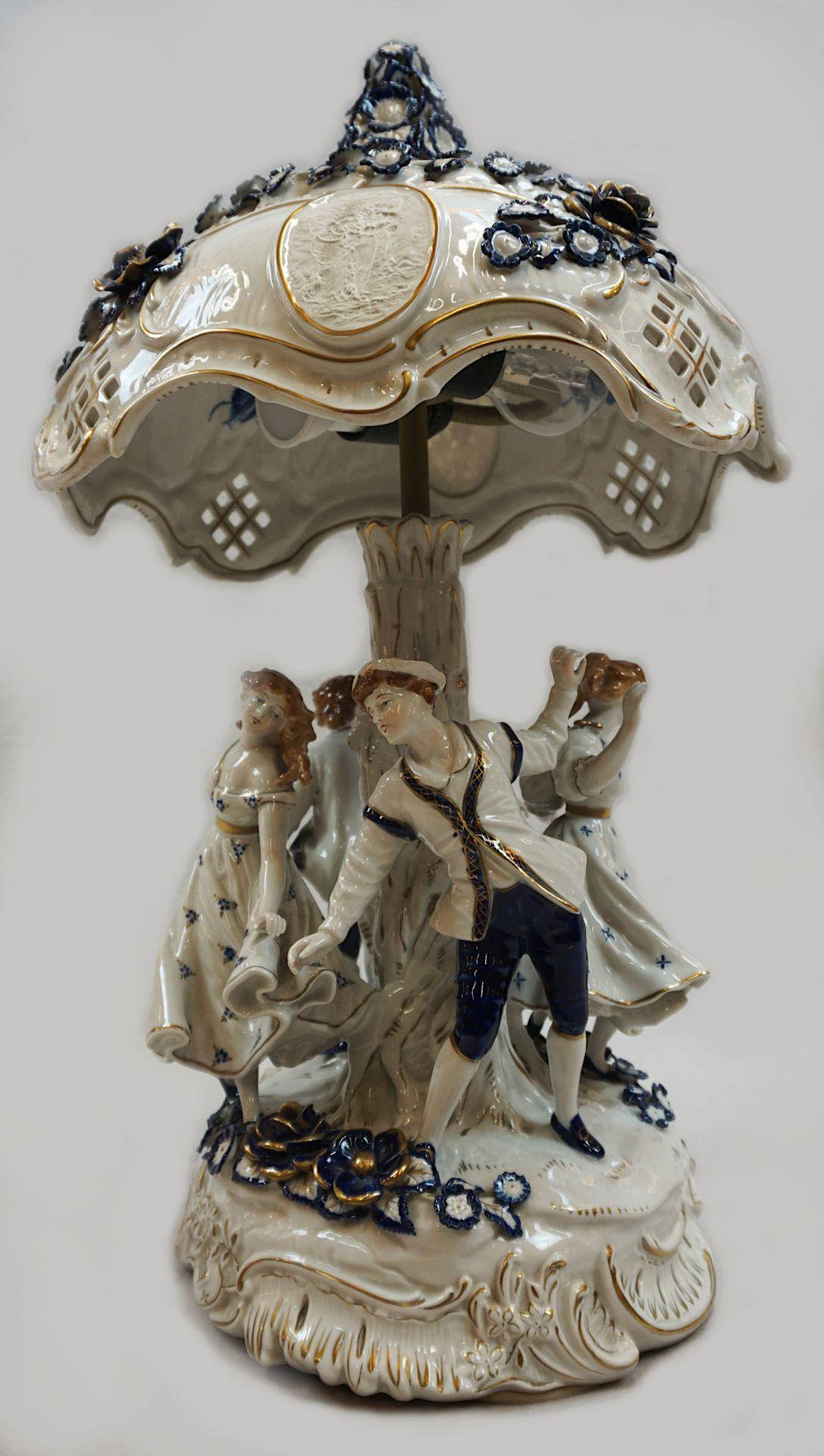 1 Tischlampe / Lithophanie-Leuchte Porzellan PLAUE, Gdr 2-flammig, elektrisch, Fuß in - Bild 3 aus 4