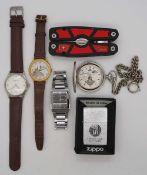1 Konv. Armbanduhren verschieden Edelstahl u.a., z.T. mit Lederarmband, umfangreich, i
