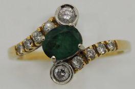 1 Damenring undeutlich gestempel, wohl GG 14ct. Brill., Smaragd, ca. Ringgröße 58
