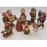 1 Konv. Hummelfiguren Porzellann GOEBEL, 2. Hälfte 20. Jh. sowie 1 Porzellanfigur ROS