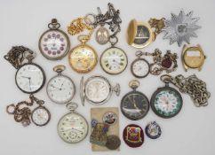 1 Konv. Taschenuhren Silber u.a., z.T. um 1900, ROSKOPF u.a. Armbanduhren, z.T. besch.