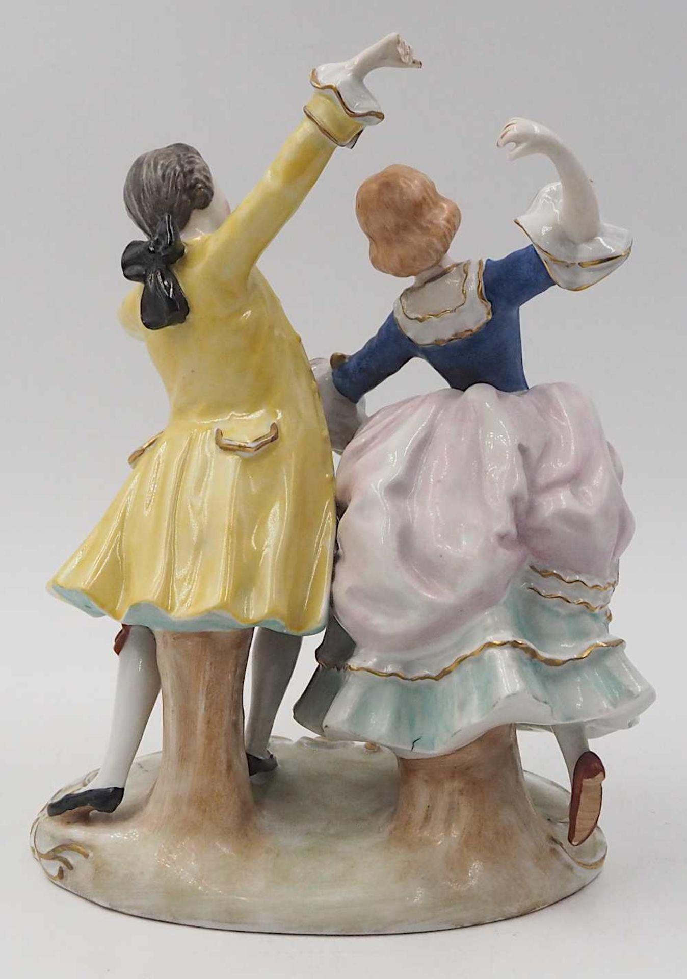"""1 Porzellanfigurengruppe , wohl 1. Hälfte 20. Jh. """"Tanzendes Rokokopaar"""" <br - Bild 3 aus 8"""