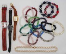 1 Konv. Schmuck Silber/Mode u.a. Edelstahl, Armbanduhren, in der Schatulle