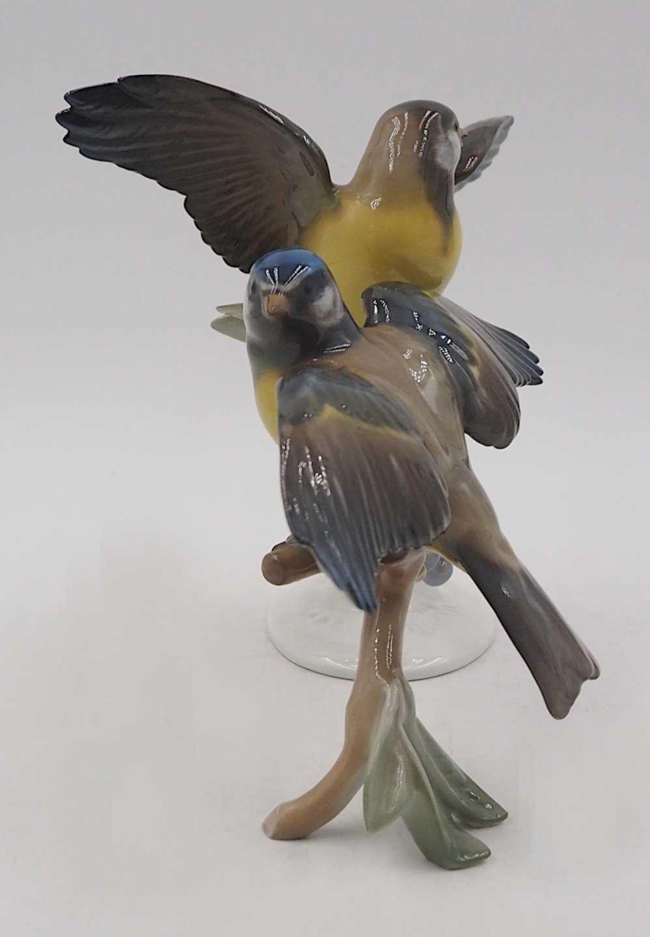 """1 Figurengruppe Porzellan """"Blau- und Kohlmeise auf Ast"""" ROSENTHAL, Design: Hugo MEISEL <br / - Bild 4 aus 5"""