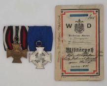 1 Konv. Ordensspange I./II. WK u.a. Militärpass 1910 (s. §§ 86/86a StGB)