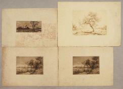 "1 Konv. Lithographien/Graphiken versch. Künstler: u.a. ""Landschaft mit Gehöft"" u.a.,"
