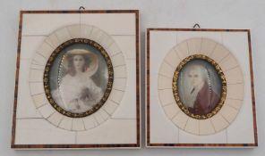 """2 Miniaturen auf Elfenbein gemalt: """"Wolfgang Amadeus Mozart"""" H ca. 10cm sowie """"Mademoi"""