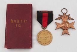 """1 Orden """"Militärverdienstorden des Königreichs Bayern 3. Klasse"""" mit Originalschatul"""