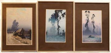 """3 Mischtechniken/Graphiken des Künstlers Oscar DROEGE (wohl 1898-1982): """"Landweg mit"""