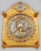 1 Tischuhr HOUR LAVIGNE à Paris, 20. Jh. Messing/Bronze, Uhrwerk über großem Astrol