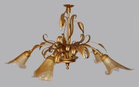 """1 Hängelampe nztl. LAM Metall bronzefarben, 5-flammig mit Glasschirmen in """"Blütenkel"""