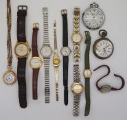 1 Konv. Armbanduhren versch. sowie 1 Damentaschenuhr GG 14ct. um 1900 sowie 1 Taschenu