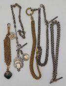 1 Konv. Uhrenketten Silber u.a., z.T. vergoldet, z.T. England