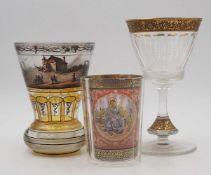 3 Gläser z.T. wohl 19. Jh., z.T. mit handgemalter, innwandiger Emaillebemalung z.T. g