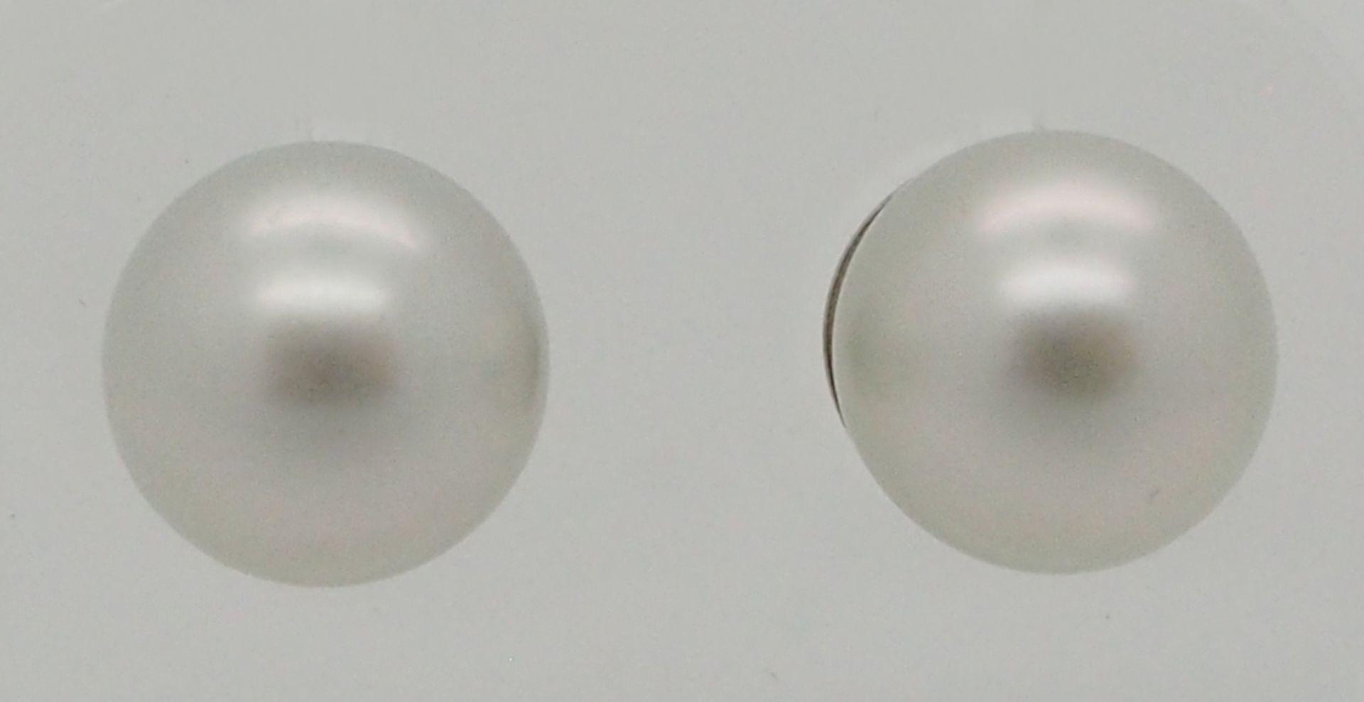 1 Paar Perlenstecker, D ca. 1 cm, Rückstecker WG 18ct.