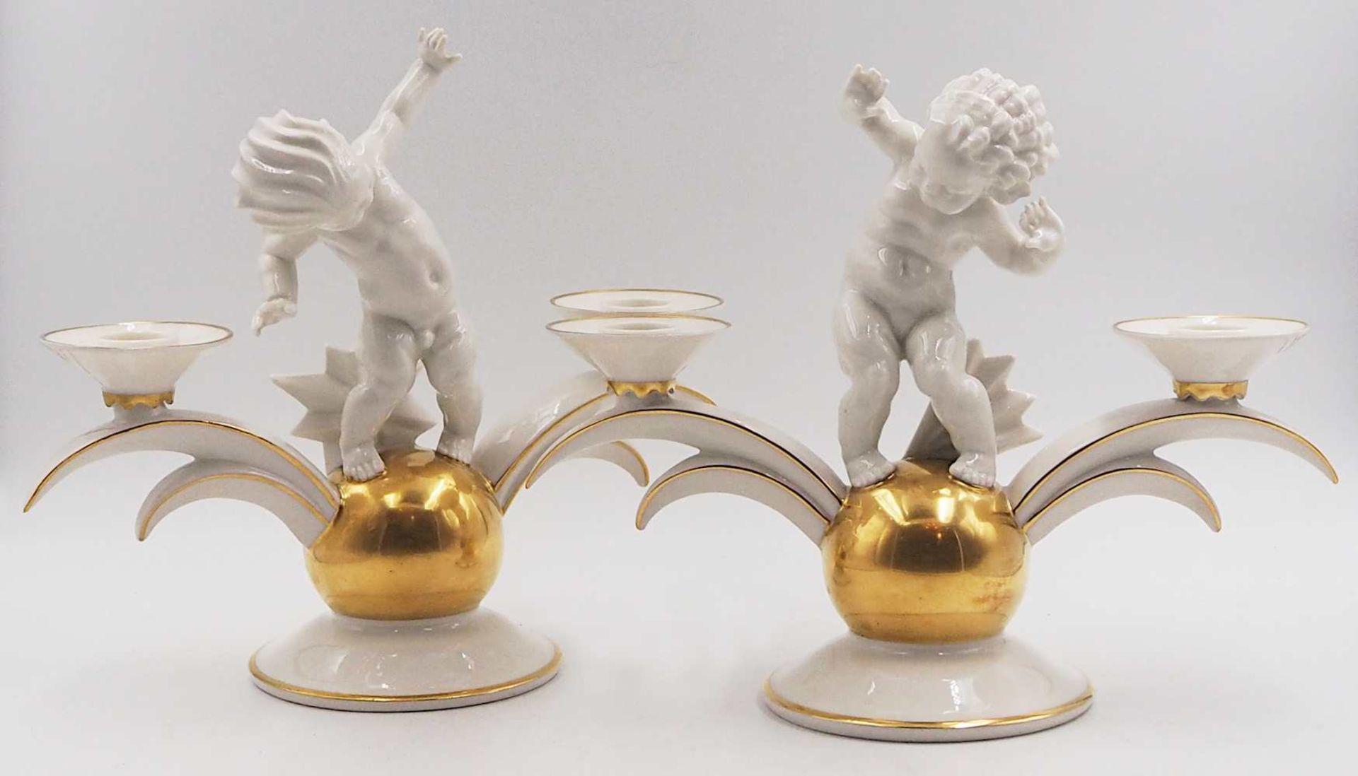 1 Pendant Kerzenleuchter Porzellan HUTSCHENREUTHER, z.T. US-Zone Designer: K. TUTTER,
