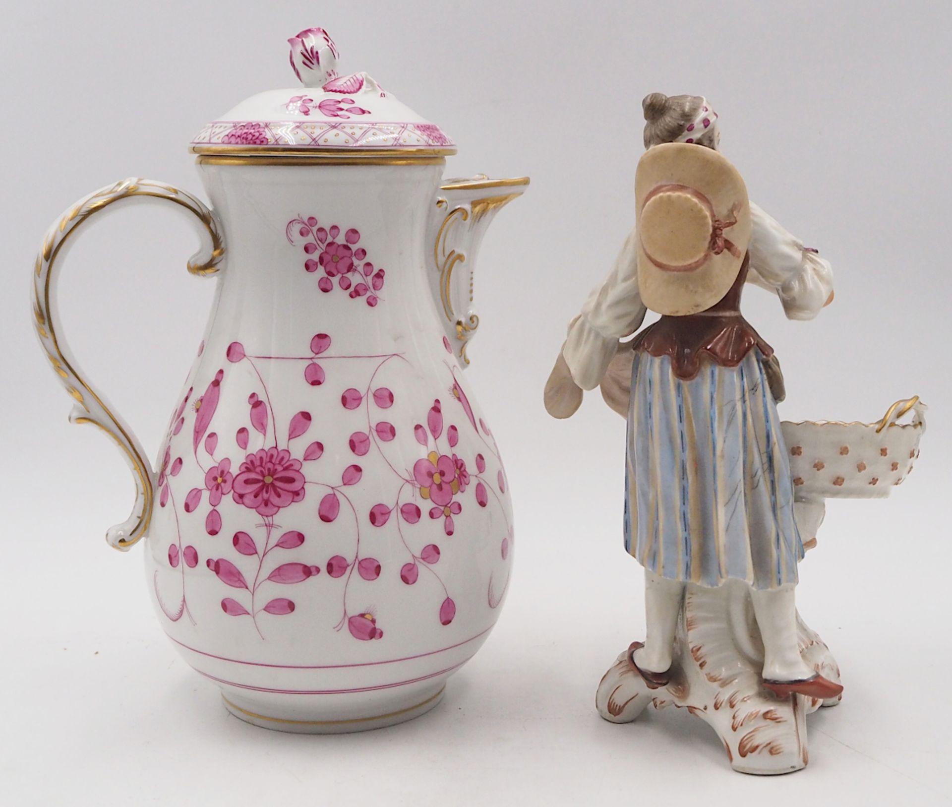 """1 Kaffeekanne Porzellan MEISSEN """"Indisch Rot"""" Modellnr.: """"506/22"""", Pressmarke: """"125/57 - Bild 2 aus 7"""