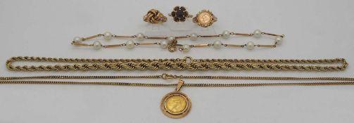 1 Konv. Schmuck GG 8/14/18ct. u.a. Perlen wohl Granate gefasste Münzen