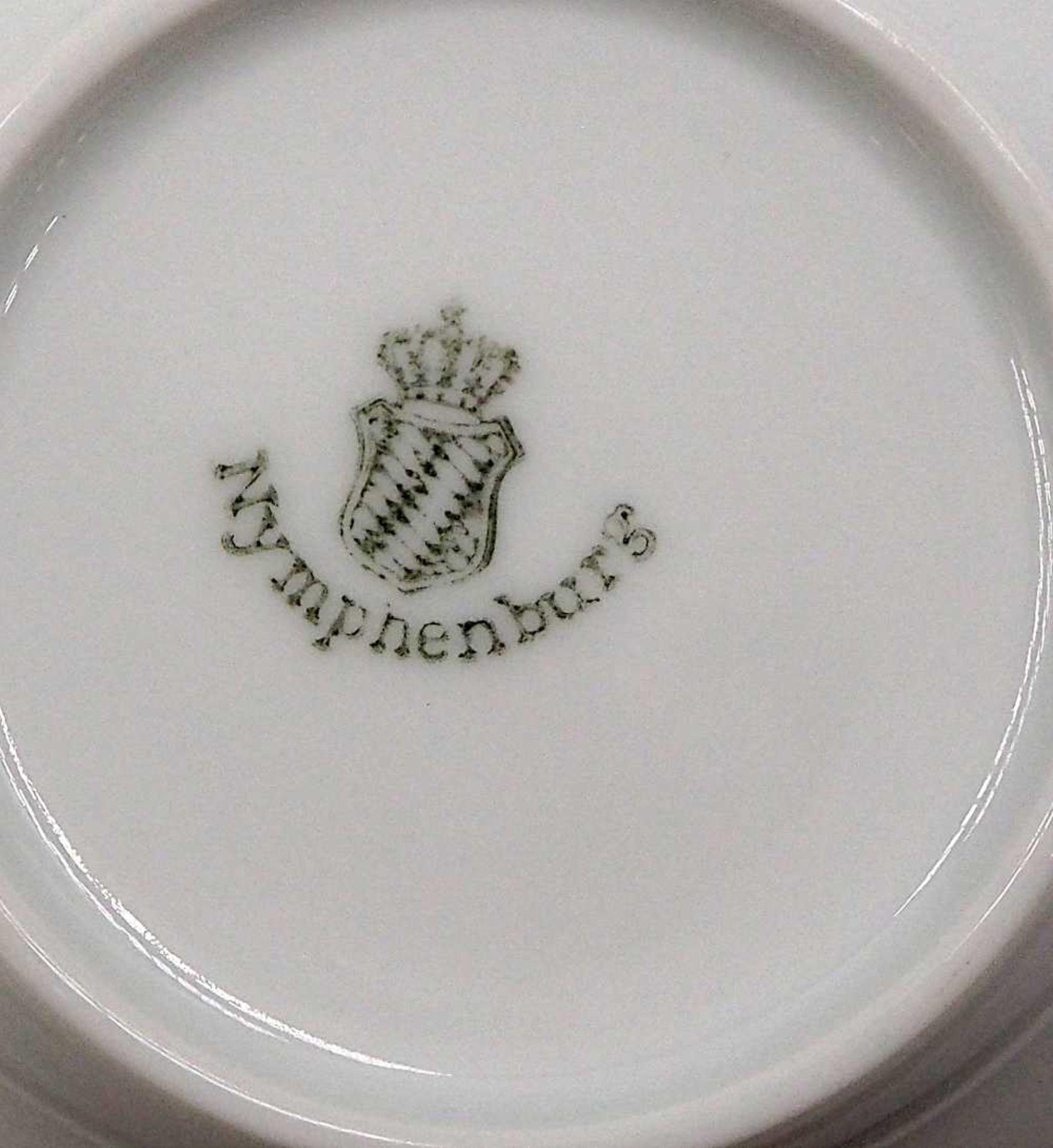 1 Kaffeeservice Porzellan NYMPHENBURG Unterglasurmarke, weiß mit violettem Blumendeko - Bild 2 aus 3