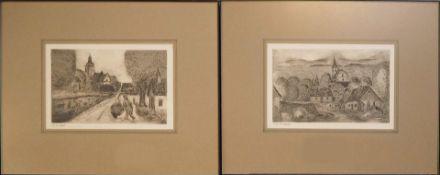 2 Radierungen des Fürther Kunstmalers Friedemann STREIT (wohl 1934-2018), je L.u. ble