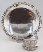 1 flache Schale gemarkt Silber 835, wohl Jacob GRIMMINGER, Schwäbisch Gmünd geflocht
