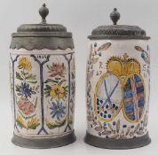 1 Walzenkrug Fayence wohl Anfang 19. Jh., Wandung bemalt mit Blumenreihungen, dat. 1804 <br